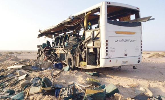 The wreckage of a bus after two coaches collided 50 km north of Sharm El-Sheikh, killing 33 people.