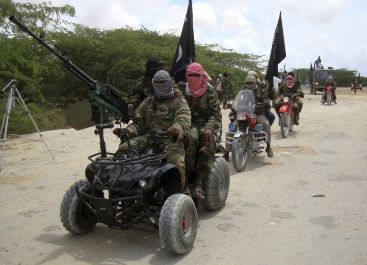 Al-Shabaab fighters seen riding quad bikes and motorbikes in Somalia.
