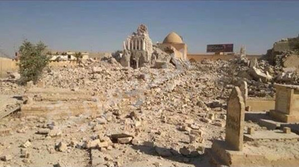 Security sources said Wednesday that ISIS extremists destroyed Arbaeen Wali shrine in the militant-held city of Tikrit.