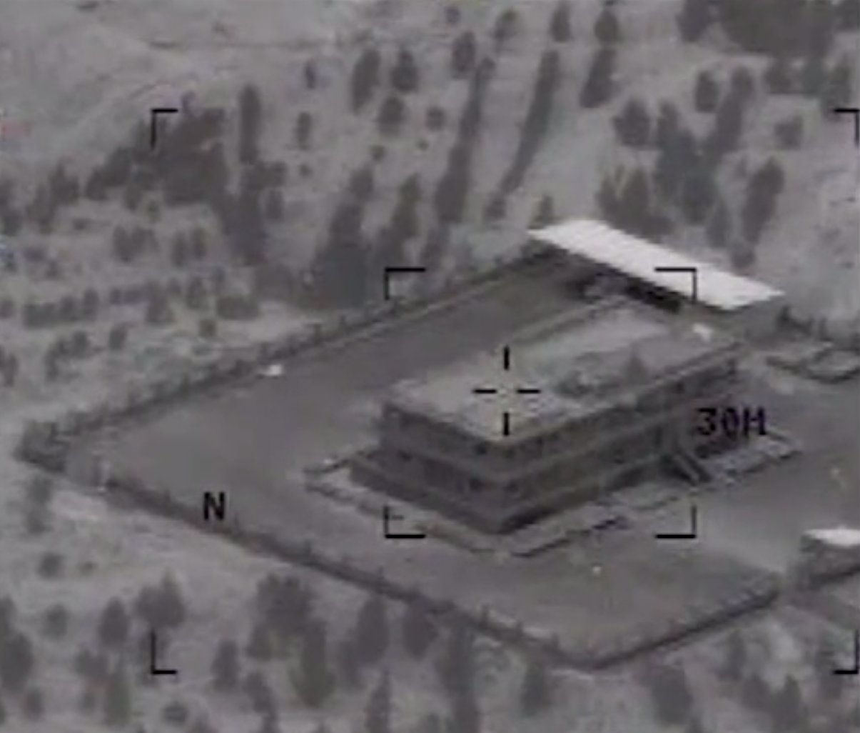 A screengrab taken from videos released by the U.S. Central Command of the airstrikes shows the before-and-after of a strike against an ISIS compound northwest of Raqqa.
