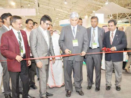Indian Ambassador to Kingdom Hamid Rao inaugurates the Indian pavilion at the Saudi Agro Food Exhibition in Riyadh.