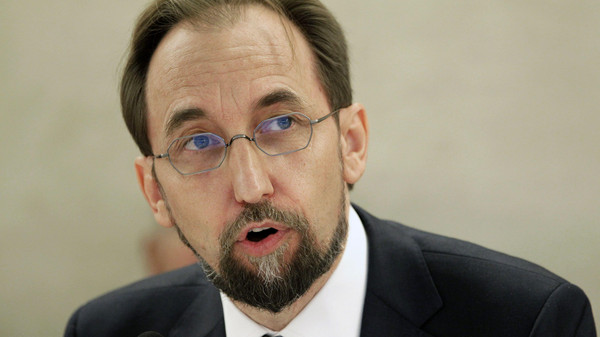 Newly appointed U.N. High Commissioner for Human Rights, Jordan's Prince Zeid Ra'ad Zeid al-Hussein speaks at the Human Rights Council.
