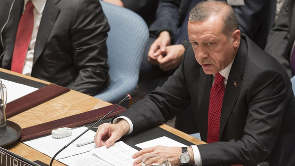 Turkish President Recep Tayyip Erdogan speaks during a UN Security Council summit meeting on foreign terrorist fighters during the United Nations General Assembly at the United Nations in New York, September 24, 2014.