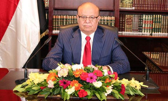 Yemeni President Abed Rabbo Mansour Hadi delivers a speech in his office at Presidential Palace on the occasion of the 52nd anniversary of North Yemen's the September 26, 1962 revolution in Sanaa, Yemen, on Thursday.