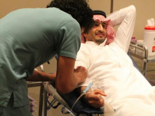 A participant donates blood during the collection campaign organized by DoubleTree by Hilton in Dhahran on Thursday.