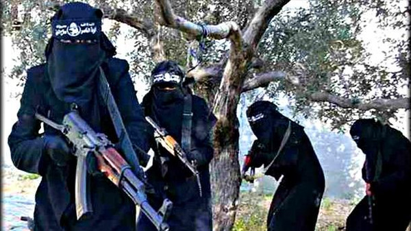 A picture allegdly showing members of the female-only al-Khansaa brigade in Syria.
