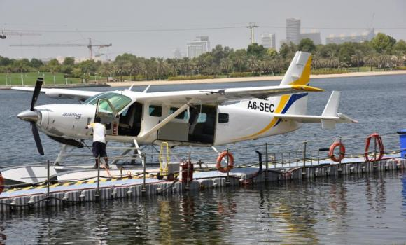 The 10-seater Cessna seaplane which flew over the city with the journalists on board.