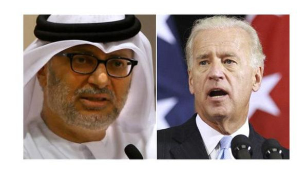 UAE Minister of State for Foreign Affairs Anwar Mohammed Gargash and U.S. Vice President Joe Biden.