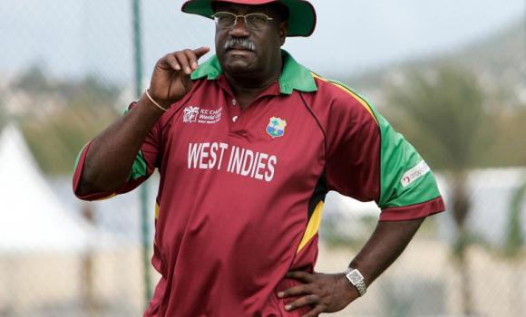 Clive Lloyd watches players during a practice session at the Sir Vivian Richards Stadium in St. John's, Antigua.