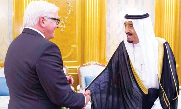 Crown Prince Salman, deputy premier and minister of defense, receives German Foreign Minister Frank-Walter Steinmeier in Jeddah on Monday. (SPA)