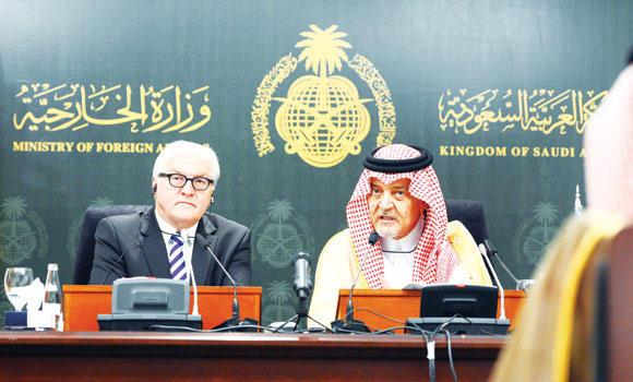 Foreign Minister Prince Saud Al-Faisal and his German counterpart Frank-Walter Steinmeier address a press conference in Jeddah on Monday.