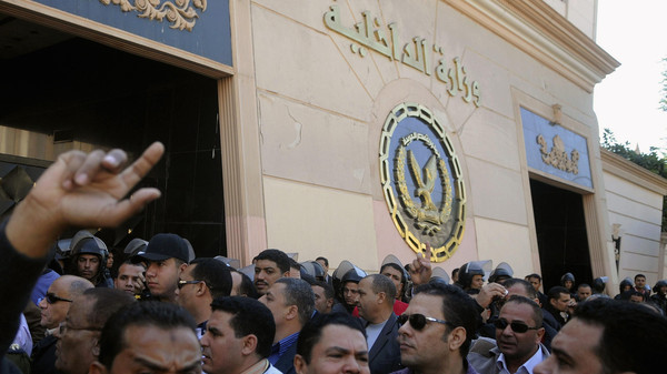 A protest outside the Interior Ministry building in Cairo on Dec. 8, 2013.
