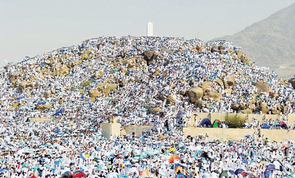 Pilgrims pray on Jabal Al-Rahma in this file photo.
