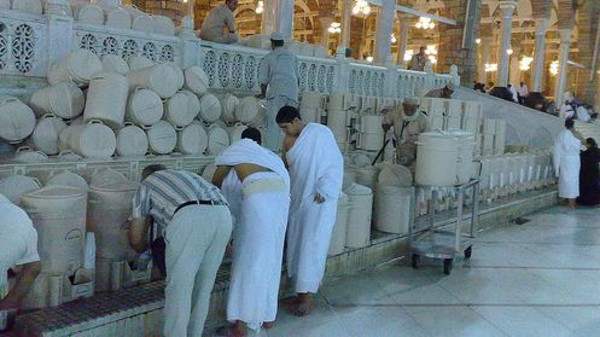 Pilgrims at the Grand Mosque make sure to drink as much water as possible from Makkah's Zamzam water.