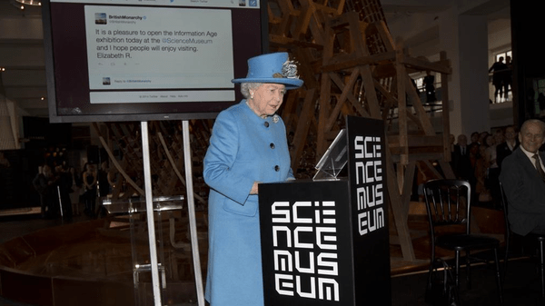 The 88-year-old's Twitter debut came during a visit to London's Science Museum as she opened a new gallery dedicated to the history of communication and information.