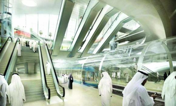 An artist's rendition of a Riyadh Metro station.