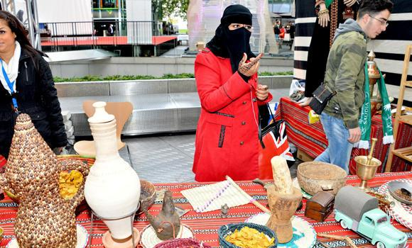Saudi handicraft are shown during a cultural exhibition in Riyadh in this file photo. A Saudi teacher has crossed regional borders to reach the United States to start her own program of spreading the culture and traditions of Saudi society.