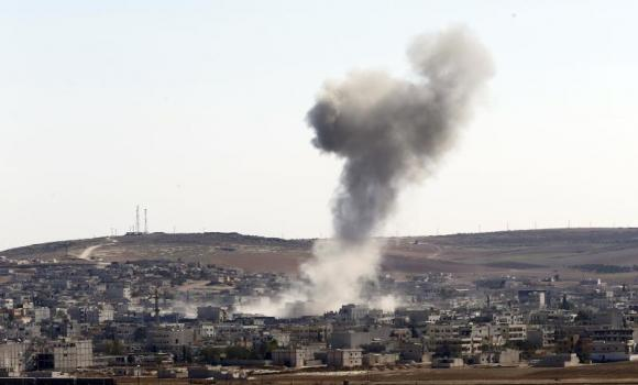 Smoke rises over the Syrian town of Kobani.
