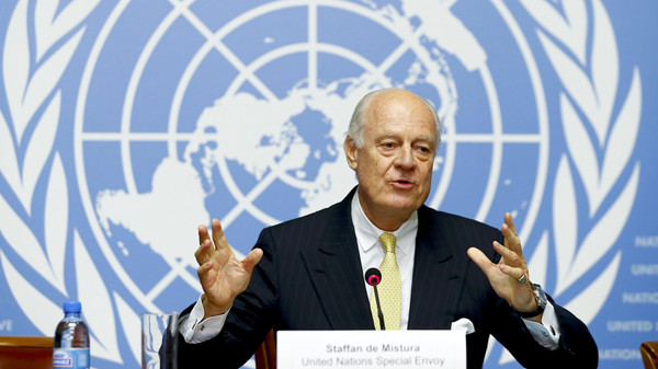 United Nations Special Envoy for Syria, Staffan de Mistura addresses his first news conference at the United Nations European headquarters in Geneva October 10, 2014.