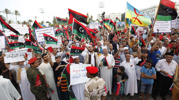 Supporters of Operation Dawn demonstrate against and to call for the removal of the new Libyan parliament in Tripoli