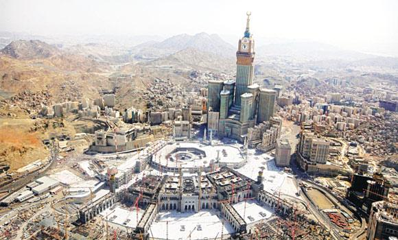 This Oct. 16, 2013 photo shows the tallest clock tower in the world at the Abraj Al-Bait Towers overlooking the Grand Mosque.