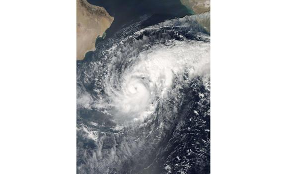 This October 27, 2014 NASA satellite photo shows Tropical Cyclone Nilofar in the Arabian Sea.