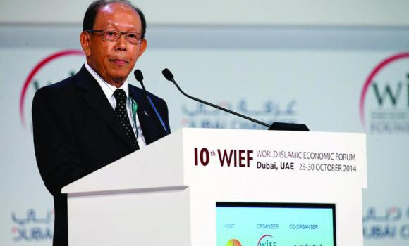 WIEF Foundation Chairman Tun Musa Hitam speaks at the Islamic finance forum.