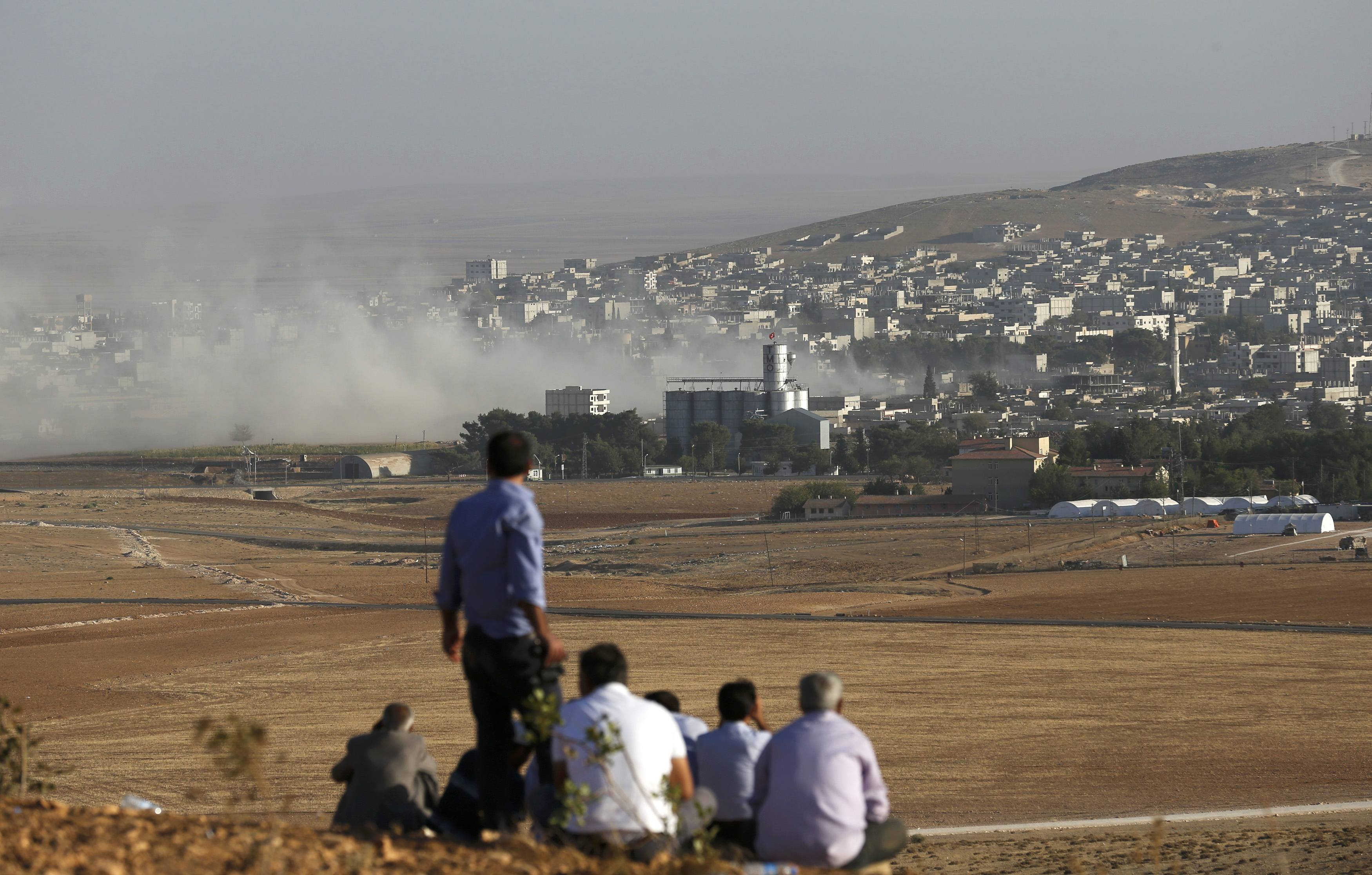 Turkish Kurds look towards the Syrian Kurdish town of Kobani from the top of a hill close to the border line between Turkey and Syria on October 10.