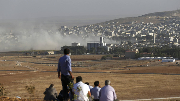 U.S. warplanes have been bombing Islamic State positions near Kobani for weeks.