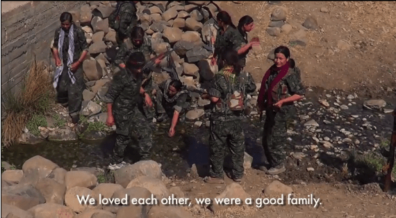 Yazidi survivors and YPG fighters in Mount Senjar.