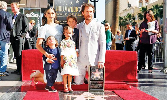 Actor Matthew McConaughey with his wife Camila Alves, sons Livingston, Levi and daughter Vida, during a ceremony honoring him with the 2,534th star on the Hollywood Walk of Fame in Hollywood, California on Monday.