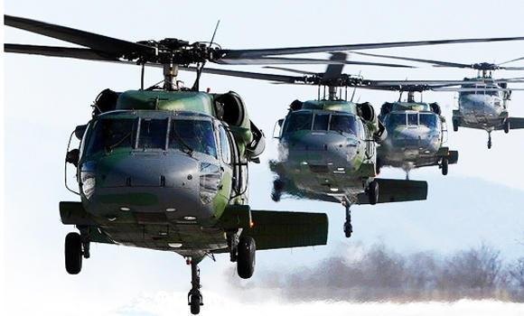 In this file photo, Blackhawk UH-60 helicopters.