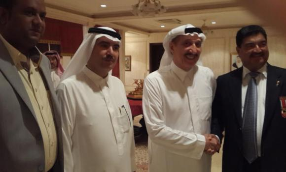 BR Shetty, managing director and CEO of Neo Pharma, with Jazan Gov. Prince Mohamed bin Nasser, Prince Turki bin Nasser and Gammon chief Shaikh Mohammed Rafik.