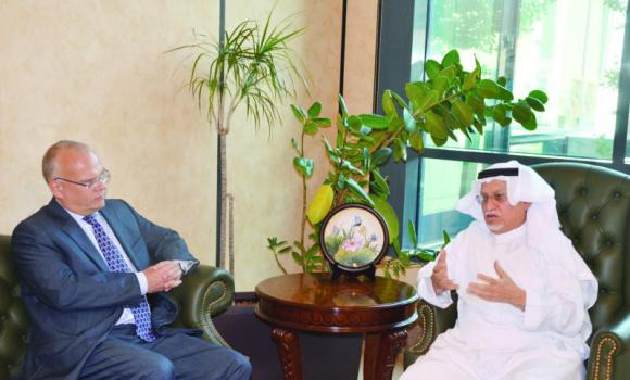 CSC Chairman Abdulrahman Al-Zamil receives Swedish Ambassador Dag Juhlin-Dannfelt at his office.