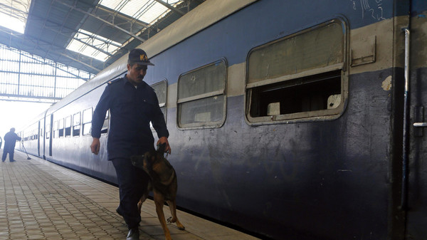 An Egyptian security official with a bomb-sniffing dog conducts a search as investigators check a damaged train carriage after a bomb exploded at Ramsis railway station in downtown Cairo November 20, 2014.