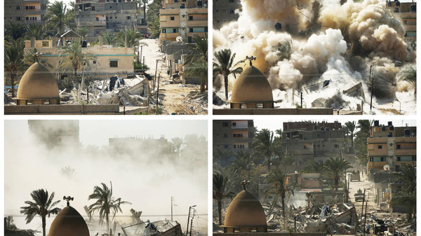 A combination of pictures shows a house before (top L) and after (bottom R) it was blown up during a military operation by Egyptian security forces in the Egyptian city of Rafah.
