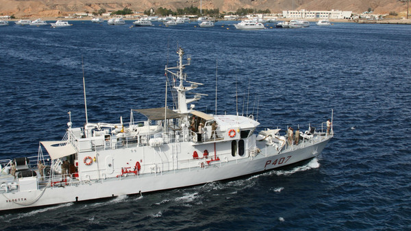 Egyptian coast guard cutter entering sharm el sheik.