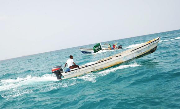 Fishermen of the Farasan Island off the Jazan coast depend on the marine resources of the Red Sea for their livelihood. A boat braves the waves to look for good fishing locations in the high seas. (SPA)