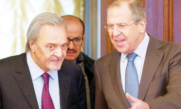 Foreign Minister Prince Saud Al-Faisal with his Russian counterpart Sergei Lavrov before their meeting in Moscow on Friday.