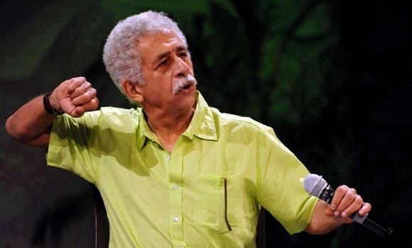 "Naseeruddin Shah talks during the release of his book ""Memoirs and Then One Day"" in Mumbai on Wednesday."