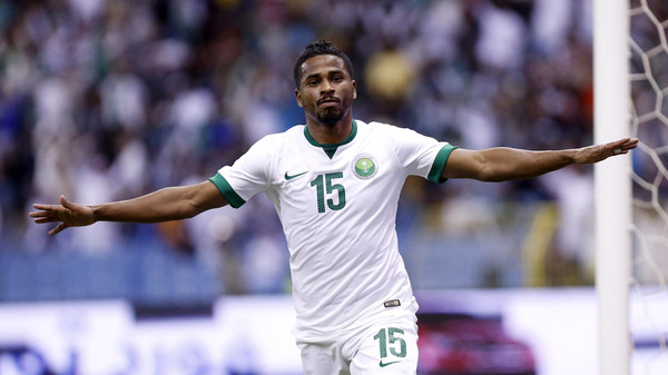 Saudi Arabia's Nasser Al-Shamrani celebrates after scoring a goal against UAE during their Gulf Cup semi-final soccer match in Riyadh November 23, 2014.
