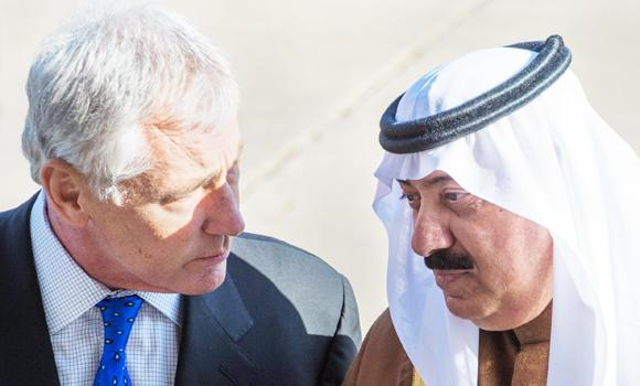 National Guard Minister Prince Miteb bin Abdullah with US Secretary of Defense Chuck Hagel at the Pentagon in Washington.