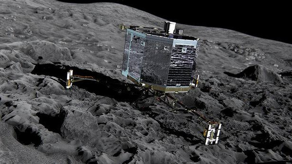 An artist's rendition of the Philae on the comet.