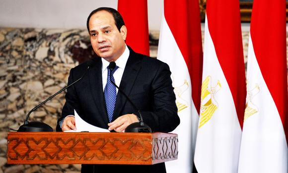In this June 8, 2014 photo shows, President Abdel-Fattah el-Sissi gives a speech during his inaugural ceremony at the Presidential Palace in Cairo, Egypt.
