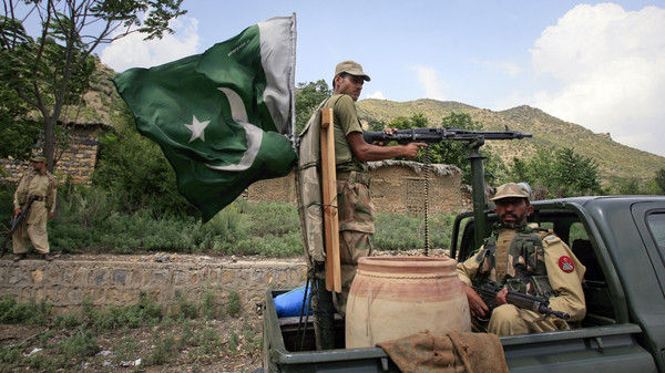 Soldiers patrol Tora Warai, a town in Kurram Agency, on the border with Afghanistan.