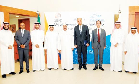 University of Dammam officials with their Thompson Reuters counterparts at the signing ceremony on Tuesday.