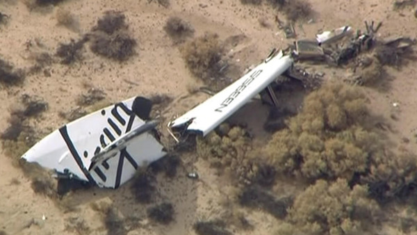 Wreckage from Virgin Galactic's SpaceShipTwo is shown in this still image captured from KNBC video footage from Mojave, California October 31, 2014.