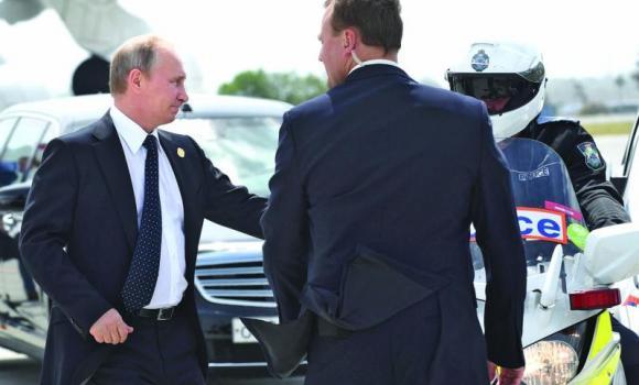 Russia's President Vladimir Putin departs Brisbane.
