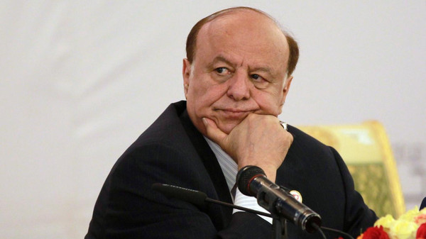 Yemen's President Abdrabuh Mansur Hadi listening during the opening session of the second national dialogue conference in the Yemeni capital, Sanaa.