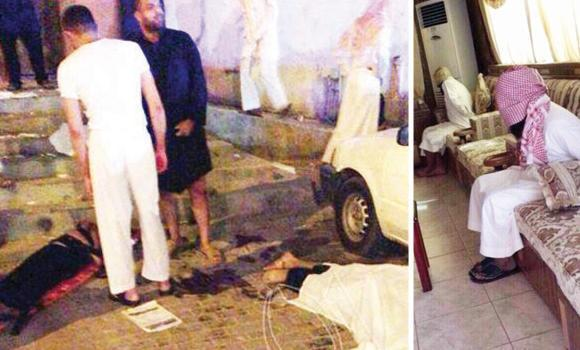 LEFT: Bodies are covered at the carnage site in Al-Ahsa. RIGHT: Arrested terror suspects await interrogation.